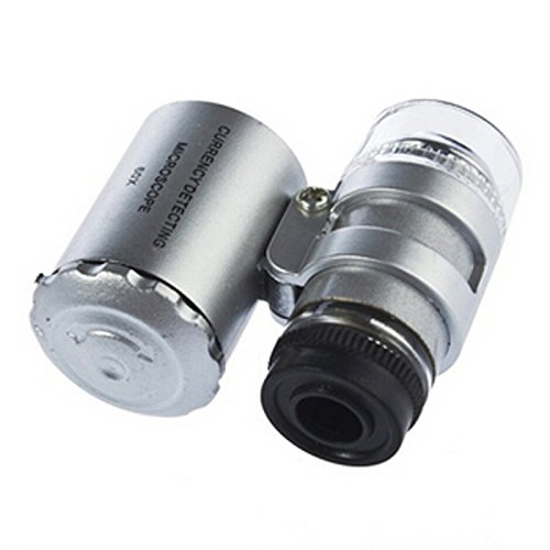 Great Value Loupe & Magnifying Glass New 60X Zoom Led Microscope Micro Lens Silver