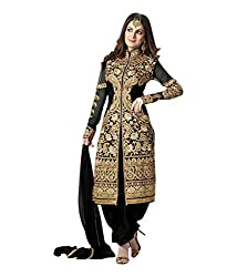 Awesome Fab Black Georgette Semi-Stiched Embroidered Salwar Suits