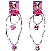 Minnie Bowtique Necklace And Bracelet Set X 2 Set (1 Pink 1 Purple Set)
