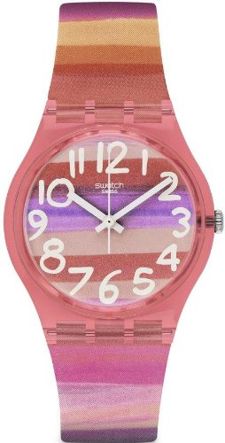 Swatch GP140 Astilbe Analog Pink White Plastic Folio Unisex Watch NEW