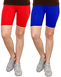 Goodtry Women's Cycling Shorts Pack of 2 Red-Royal Blue