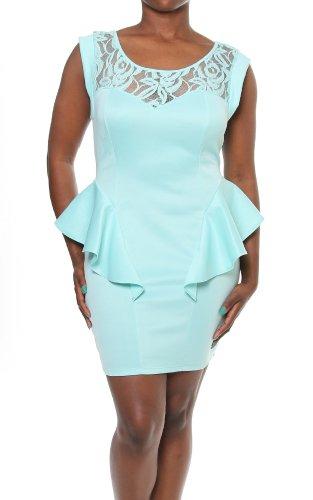 Plus Size Mint Floral Lace Shoulder Cap Sleeve Sexy Peplum Plus Size Mini Dress-Mint-1X front-87662