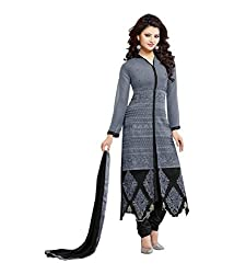 Shopeezo Grey Colored Georgette Embroidered Semi Stitched Dress Material
