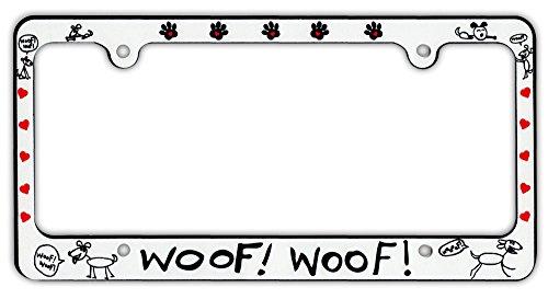 plastic license plate frame tag holder woof woof dogs hearts - Dog License Plate Frames