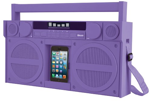 Ihome Bluetooth Portable Fm Stereo Boombox With Usb Charging In Rubberized Finish - Purple (Ibt44Uc)