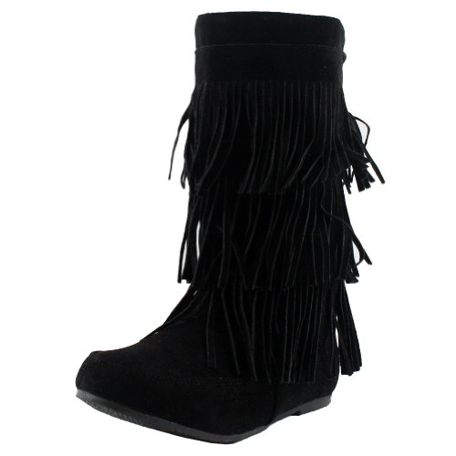 West Blvd Womens LIMA MOCCASIN Boots 3-Layer Fringe Tribal Indian Winter Faux Suede Leather Shoes ,Black Su ,9