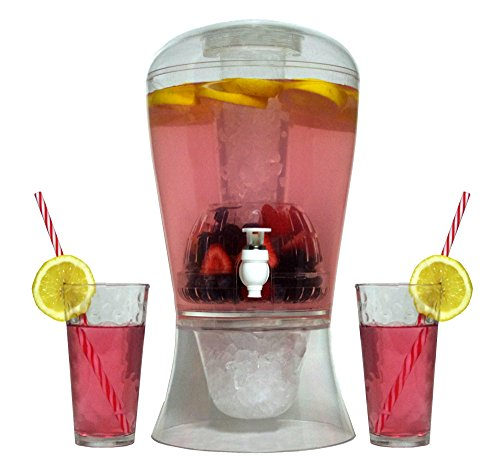 Large 2 Gallon Beverage Dispenser on Stand with Spout - Ice Base and Core Keep Juice and Drinks Cold -Unbreakable Acrylic Jug with Fruit and Tea Infuser and Spigot Perfect for Parties (Two Gallon Beverage Dispenser compare prices)