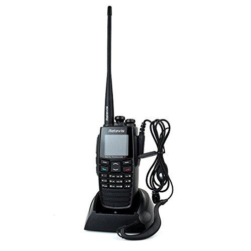 Retevis RT2 DPMR Digitale Walkie Talkie Ricetrasmittente VHF / UHF 136-174 / 400-470MHz 5W 256 Canali GPS VOX Messaggio Scrambler Ricetrasmettitore con Cuffia (Nero)