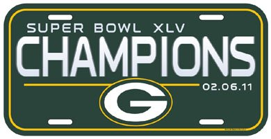 Green Bay Packers Super Bowl XLV 45 Champs License Plate