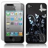 Yousave Accessories Etui pour Apple iPhone 4 / 4S Noir / Argent Papillon Florauxpar Yousave Accessories