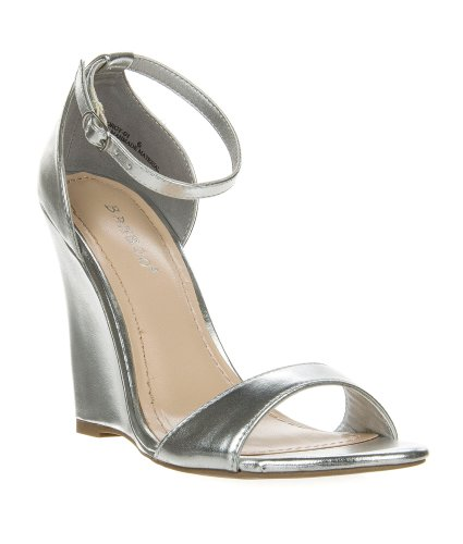 Gorgy01 Silver Classic Wedge Dress Sandal Toe Strap Ankle Strap Women Bamboo Shoe-8.5 front-864716