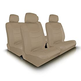 UNIVERSAL CAR SEAT COVER FOR MIDSIZE AND COMPACT CARS FULL SET - BEIGE/BEIGE