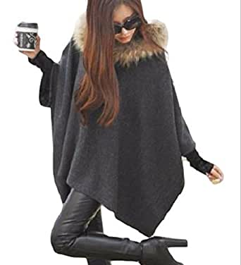 (ボヌール)BONHEUR コート ポンチョ レディース グレー フード 付き ファー a ライン ボア ゆったり かわいい お嬢様 ふわふわ ニット 重ね着 風 長袖 カジュアル