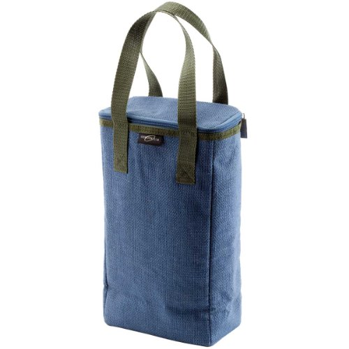Oenophilia Capri Jute Bottle Tote, Denim - 2 Bottle front-939424