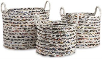 Imax 89850-3 Anise Recycled Magazine Baskets, Set Of 3