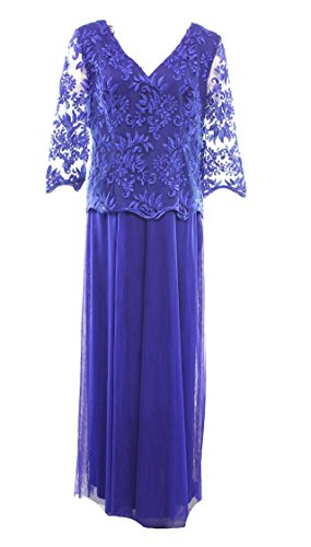 Alex Evenings Embroidered Popover Gown, Royal, 16