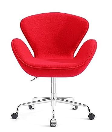 Hogar Decora–Sillon girevole Cashmere Rosso, misure: 70x 65x 80/87cm