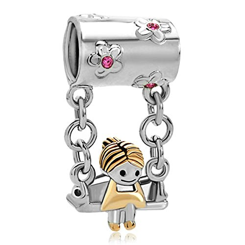 Pugster 22k Gold Rose Pink Crystal Cute Mother's Girl Sitting On Swings Bead Fits Pandora Charm Bracelet image