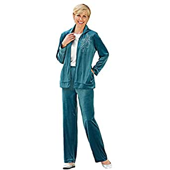 Blair Women's Plus Size Velour Pants Set - XL Teal at ...