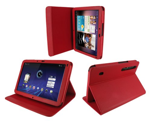rooCASE Multi-Angle (Red) Leather Folio Case Cover for Motorola XOOM Android Tablet (NOT Compatible with XOOM Family and XOOM 2)