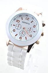 Unisex Silicone Gel Ceramic Style Jelly Band Classic Watch White