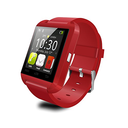 "YAMAY(TM) 2015 HOT U8 Android Bluetooth 4.0 Smartwatch with 1.44"" Capacitive Touch Panel Screen Built in Speaker Fitness Smart Watch Healthy Pedometer for Sport Running Sleep Monitoring (red)"