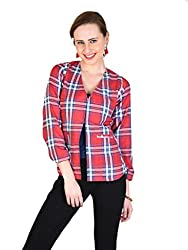 ANASAZI VINTAGE CHECK FRONT OPEN RED COTTON BLAZER FOR WOMEN