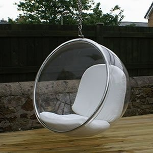 Eero Aarnio Bubble Chair With White Seat Cushion. by designer seating