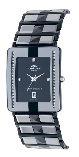 Oniss Mens Caprice Tugnsten & Ceramic Watch on333mgm-blk