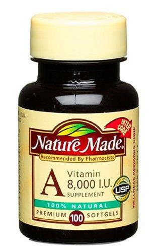 Nature Made Vitamine A, 8000 UI, 100-Count