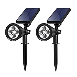 InnoGear Solar Lights Spotlight Outdoor Landscape Lighting Wall Light, Pack of 2 (Warm White Light)