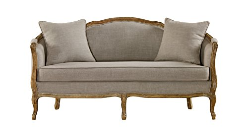 Ordinaire Baxton Studio Corneille French Country Weathered Oak Linen Upholstered  2 Seater Sofa, Beige