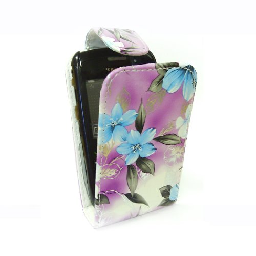 StyleBitz / BlackBerry 8520 / stylish purple & blue floral Stoff Flip fall / neu