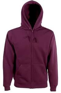 Fruit of the Loom Mens Zip Through Hooded Sweatshirt Hoodie Burgundy Large