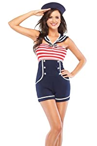 Coquette Women's Pin Up Sailor, Navy/Red/White, Medium/Large