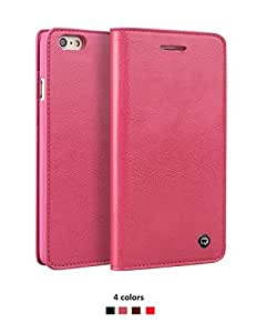 Qialino Slim Flip Wallet Phone Case for iphone 6 / 6s, Genuine Leather Cover with Card Slot and Magnetic Closure,the Best Folio Protective Skin for Business (Pink)