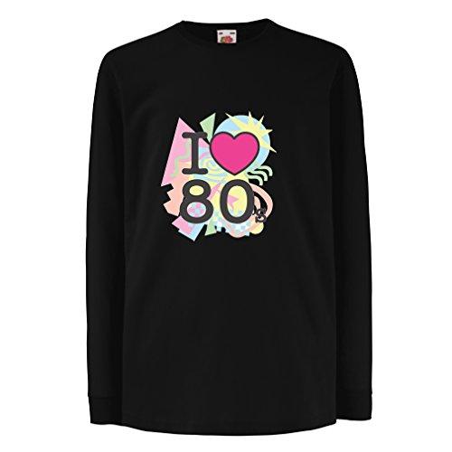 Bambini t-shirt con maniche lunghe Amo '80s t shirt musica rock bands regalos (12-13 years Nero Multicolore)