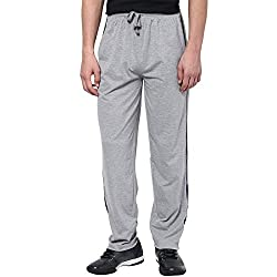 Aventura Outfitters Single Jersey Trackpant Grey Melange With Half Navy Blue Stripes and Two Piping - XL (AOSJTP521-XL)