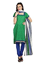 Parchayee Women's Green Printed Cotton Dress Material