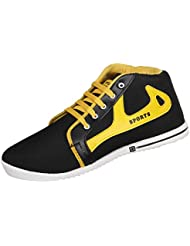 Earton Men's Black & Yellow EVA Sneakers