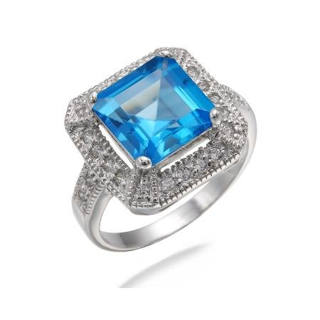 10MM Princess Cut Natural Swiss Blue Topaz Ring In Sterling Silver 3 CT (Available in Sizes J - S)