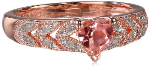 Rose Gold Flashed Silver Morganite and Diamond Heart Ring, (.06 Cttw, G-H Color, I2-I3 Clarity), Size 6
