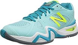 New Balance Women\'s WC1296V1 Stability Tennis Shoe, Sea Glass/Blue, 9 B US