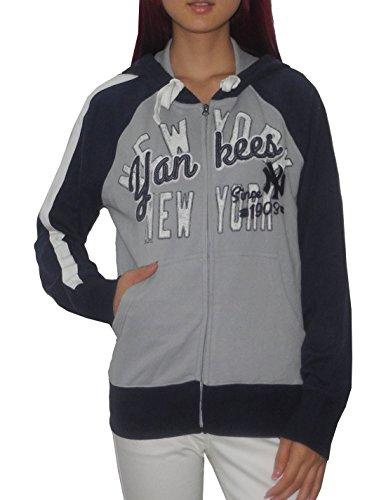 MLB NEW YORK YANKEES Womens Athletic Zip-Up Hoodie (Vintage Look) S Multicolor (New York Yankees Hoodie Zipper compare prices)