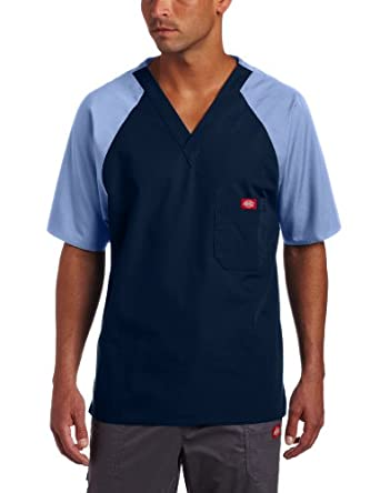 Dickies Men?s Raglan Sleeve Two-Tone Solid Scrub Top,Navy Ceil,Small