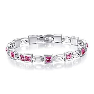 Deal of the Day Women's Austrian Crystal Charm Tennis Bracelet, 7