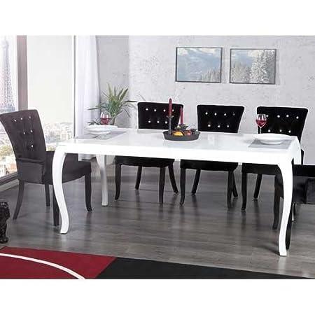 Tavolo da pranzo PALAIS, stile barocco, bianco lucido, 180 x 90 x 78 cm