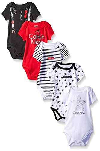Calvin Klein Baby Boys' 5 Pack Assorted Bodysuits, Red/Black/Stars, 6-9 Months