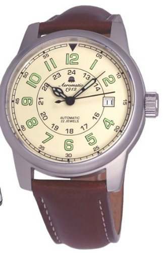 Aeromatic-1912-Automatic-self-winding-Aviator-Watch-with-Brown-Strap-A1412