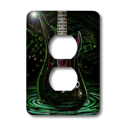 Lsp_109245_6 Florene Music - Fun Electric Neon Rock Guitar - Light Switch Covers - 2 Plug Outlet Cover